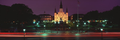 Buildings Lit Up at Night, Jackson Square, St. Louis Cathedral, French Quarter, New Orleans Photographic Print by  Panoramic Images