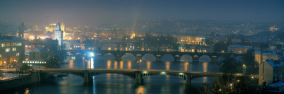 High Angle View of a Bridge at Dusk, Charles Bridge, Prague, Czech Republic Photographic Print by  Panoramic Images
