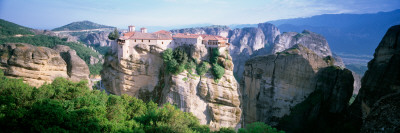 Monastery on the Top of a Cliff, Roussanou Monastery, Meteora, Thessaly, Greece Photographic Print by  Panoramic Images