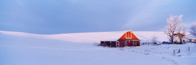 Washington, Barn in a Snow Covered Field Photographic Print by  Panoramic Images