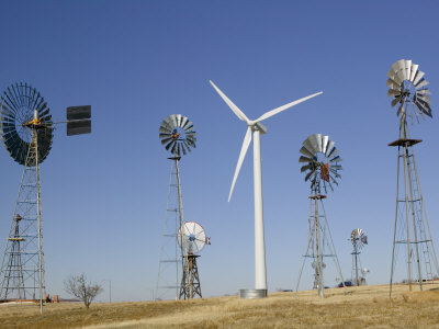 Traditional Windmills with a Wind Turbine on a Landscape, American Wind Power Center, Lubbock Photographic Print
