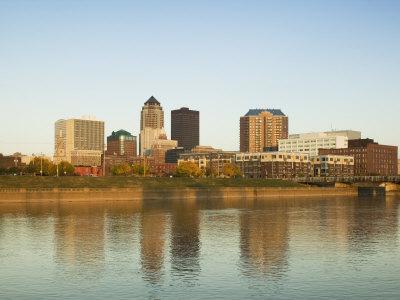Buildings at the Waterfront, Des Moines River, Des Moines, Iowa, USA Photographic Print