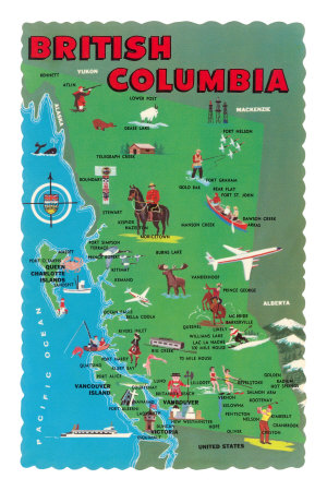 Map of British Columbia Premium Poster