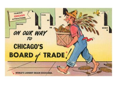 Cartoon of Chicago Board of Trade, Chicago, Illinois Planscher