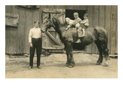 Children on Back of Draft Horse Poster