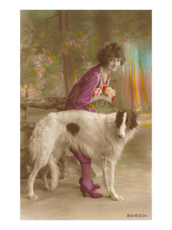 Woman in Purple with Borzoi Posters
