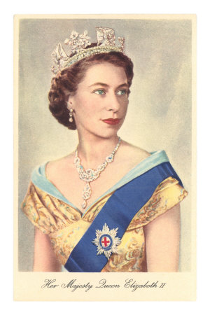 Portrait of Queen Elizabeth Premium Poster