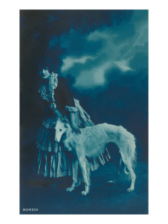 Woman in Gypsy Outfit with Borzoi Print