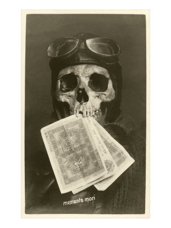 Skull with Pilots Cap and Goggles Poster
