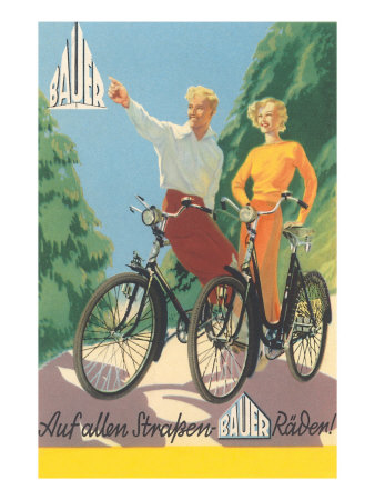 Bicycling German Couple Posters