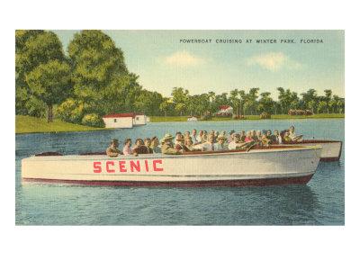 Powerboat Cruising, Winter Park Print