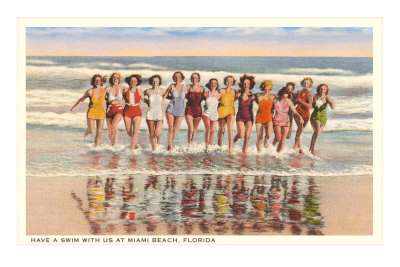 Ladies in Surf, Miami Beach, Florida Premium Poster