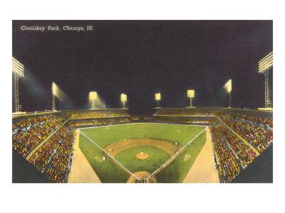 Comiskey Park, Night, Chicago, Illinois Print