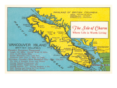 Map of Vancouver Island, British Columbia Posters