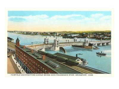 Docks on Pequonnock River, Bridgeport, Connecticut Posters