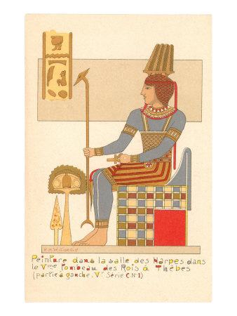 Rendering of Frieze from Theban King Tomb, Egypt Print