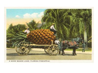 Giant Pineapple on Wagon, Florida Print