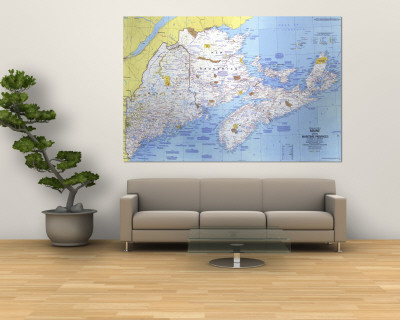 1975 Close-up USA, Maine Map Wall Mural by  National Geographic Maps