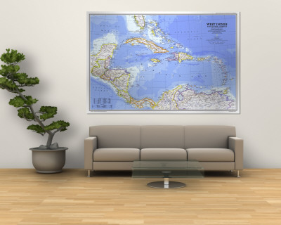 1981 West Indies and Central America Map Wall Mural by  National Geographic Maps