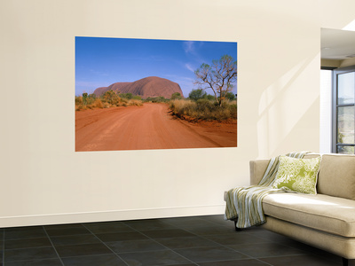 Desert Road and Ayers Rock, Australia Wall Mural