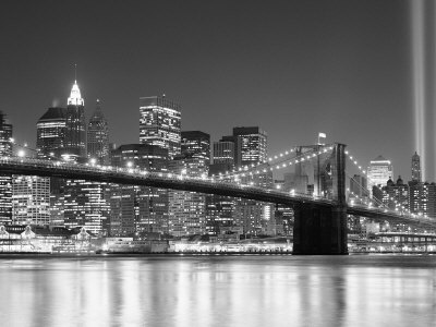 NY - Towers and Spot Lights Photographic Print