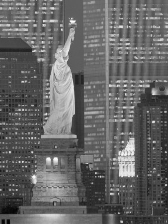 NY - Towers and Statue Photographic Print