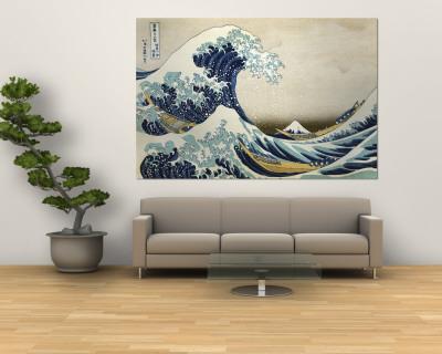 The Great Wave of Kanagawa , c.1829 Wall Mural by Katsushika Hokusai