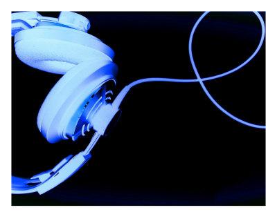 DJ Headphones - Dark Blue Photographic Print by Kirsten Gaeding