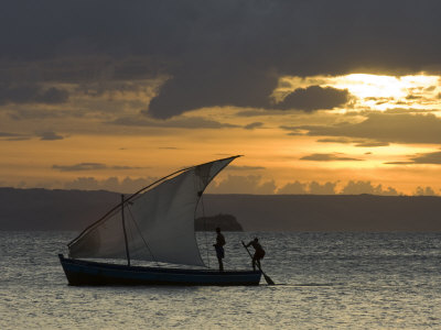 Fishing Boat at Dawn, Ramena Beach, Diego Suarez in North Madagascar Photographic Print by Inaki Relanzon