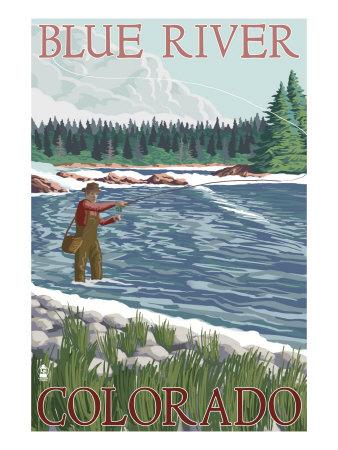Blue River, Colorado - Fisherman Wading, c.2008 Posters by  Lantern Press