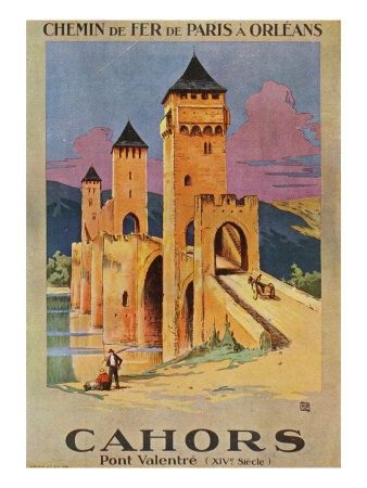 Cahors, France - View of the Valentra Bridge, Paris and Olreans Railway Postcard, c.1928 Posters by  Lantern Press