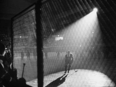Hockey Game Being Held in the Spokane Colliseum Fotografisk tryk