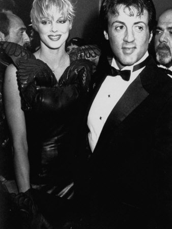 Actors Sylvester Stallone and Brigitte Nielsen at Film Premiere of His