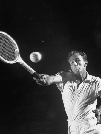 Tennis Player Ken Mcgregor, Striving to Hit the Tennis Ball Premium