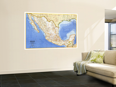 1973 Mexico Map Wall Mural by  National Geographic Maps