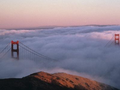 Golden Gate Bridge Enveloped by Fog, San Francisco, California, USA Photographic Print by Mark Gibson