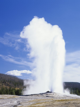 Old Faithful Erupting, Yellowstone National Park, Wyoming, USA Photographic Print by Adam Jones