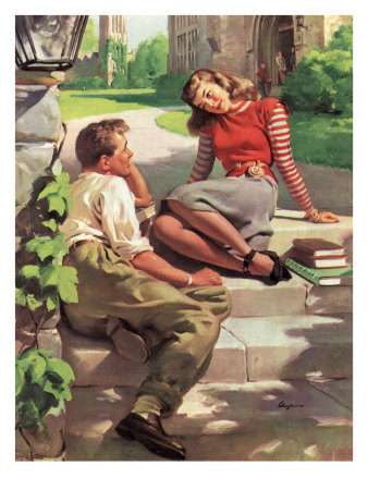 Couple Sitting on Steps Giclee Print