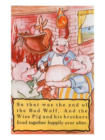 Three Little Pigs Giclee Print