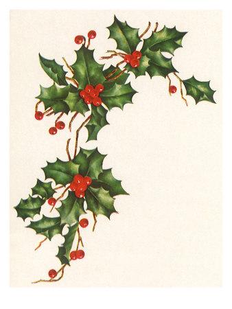 Holly Berry Border Giclee Print