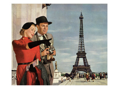 Couple and Eiffel Tower Giclee Print