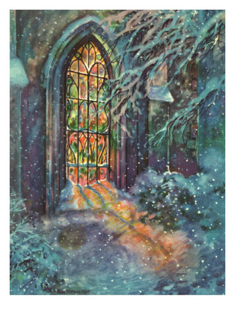 Snow and Stained Glass Giclee Print