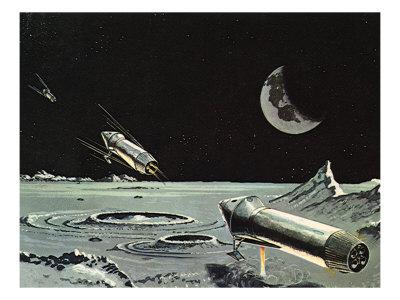 Sci Fi - Spaceships on Moon Giclee Print