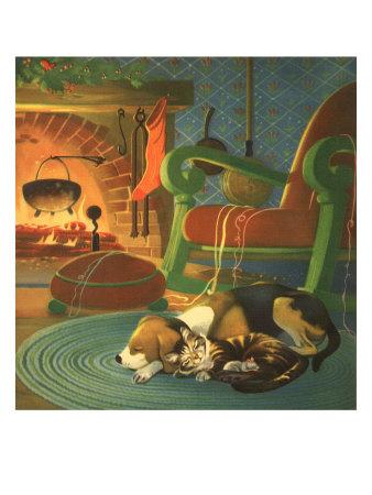 Dog, Cat, Rat Asleep Giclee Print