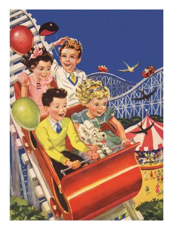 Kids on Roller Coaster Giclee Print