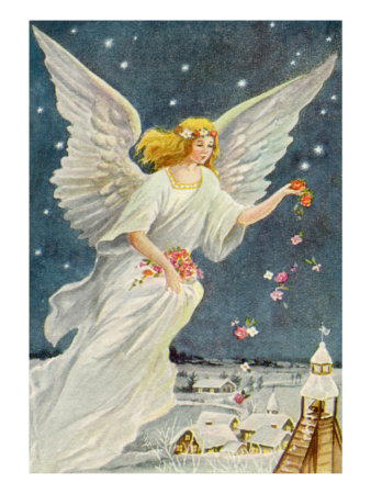 Angel Dropping Flowers Giclee Print