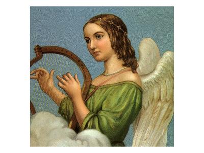 Angel Playing Harp Giclee Print