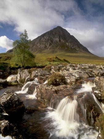 Waterfall on River Coupall, Glen Etive, Near Glencoe, Highland Region, Scotland, UK Photographic Print by Patrick Dieudonne