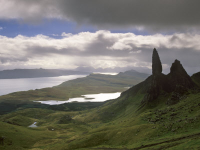 Old Man of Storr, Overlooking Sound of Raasay, Isle of Skye, Highland Region, Scotland Photographic Print by Patrick Dieudonne