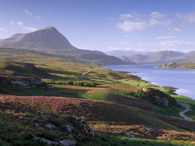Strathmore Valley, Loch Hope and Ben Hope, 927M, Sutherland, Highland Region, Scotland, UK Photographic Print by Patrick Dieudonne